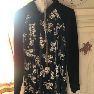 Hooded long sleeve A-line Floral dress